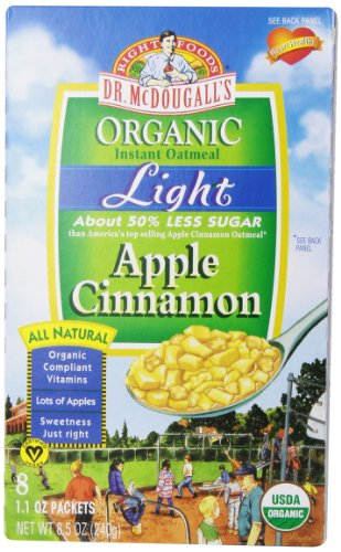 Dr. McDougall's Right Foods Organic Instant Oatmeal, Light Apple Cinnamon, 8-Count Boxes (Pack of 6)