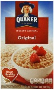 Quaker Instant Oatmeal Original, 12-Count, 11.8 ounces Boxes (Pack of 4)