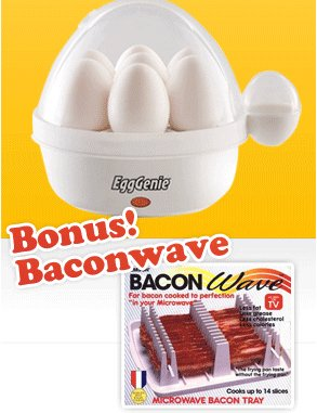 Egg Genie Electric Egg Cooker w/Bonus Baconwave