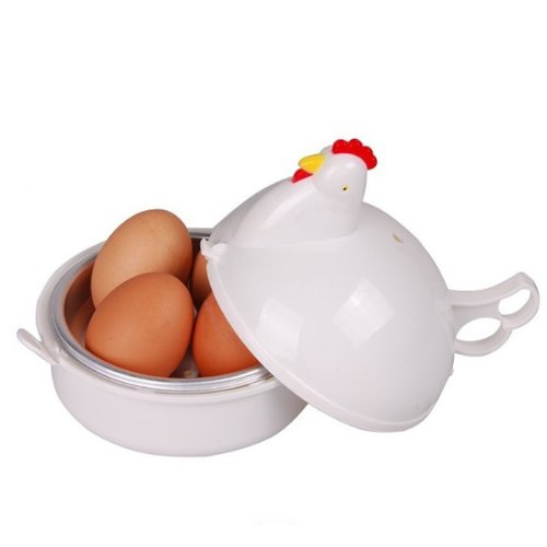 Foxnovo Cute Chicken Shaped Plastic Microwave Egg Boiler Poacher Cooker for 4 Eggs