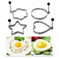 DBPOWER Kitchen Cooking Fried Oven Poacher Pancake Egg Poach Ring with Folding Handles(4,multi-shape)