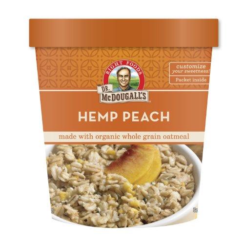 Dr. McDougall's Hemp Peach Oatmeal Cups Made With Organic Whole Grain Oatmeal 3-Ounce Cups (Pack of 6)