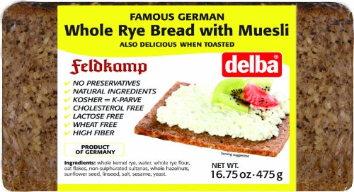 Feldkamp Whole Rye with Muesli Bread, 16.75-Ounce Vacuum Pack (Pack of 12)