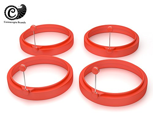 Fast Food Style Non-stick Silicone Egg and Pancake Rings ,Set of Four (4), Easily Creates Perfectly Round Eggs for Breakfast Sandwiches, Great for Eggs, Pancakes, Omelettes and More