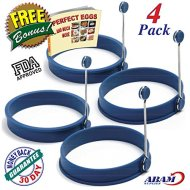 NEW Chef Silicone Egg – Pancake Breakfast Sandwiches – Benedict Eggs – Omelets and More Nonstick Mold Ring Round, Blue (4-pack)