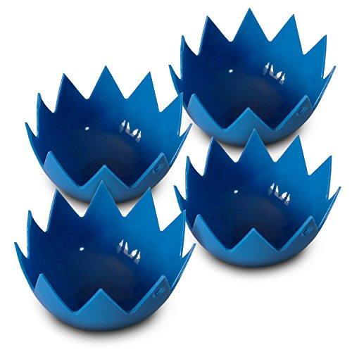 LotusPoachers Silicone Egg Poachers (Set of 4)…Brand-New-Design…Premium Non Stick Egg Poaching Cups…Blue