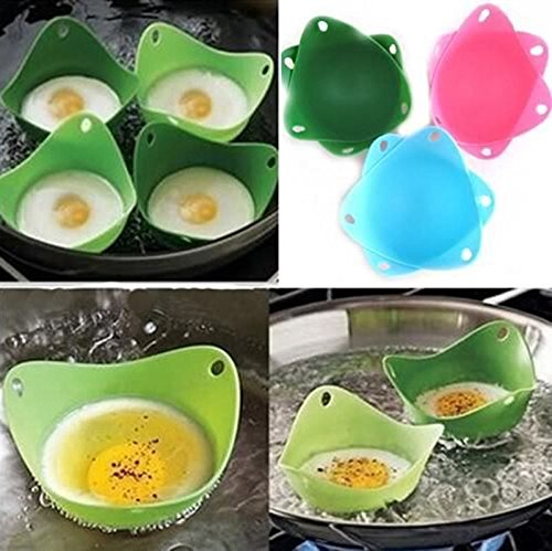 4x Flexibe Silicone Egg Poacher Cook Poach Pods Kitchen Tool Baking Poached Cup
