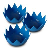 LotusPoachers Silicone Egg Poachers (Set of 3)…Brand-New-Design…Premium Non Stick Egg Poaching Cups…Blue