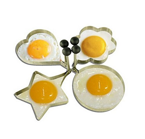 AnnyMart 4pcs/lot stainless steel omelette mold device love surprise eggs ring model set heart shape egg mold styling tools