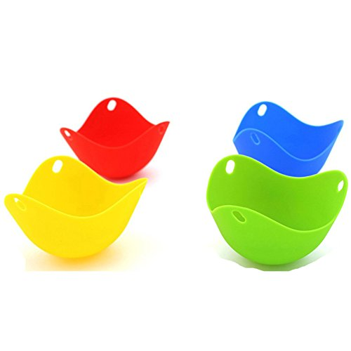 Non Stick Heat Resistant Colorful Silicone Egg Poacher Set of 4