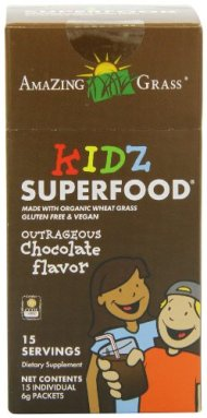 Amazing Grass Kidz Superfood, All Natural Chocolate Drink Powder, 15 Count Packets