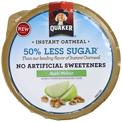 Quaker 50% Less Sugar Instant Oatmeal Express Cups, Apple Walnut, 1.34 Ounce