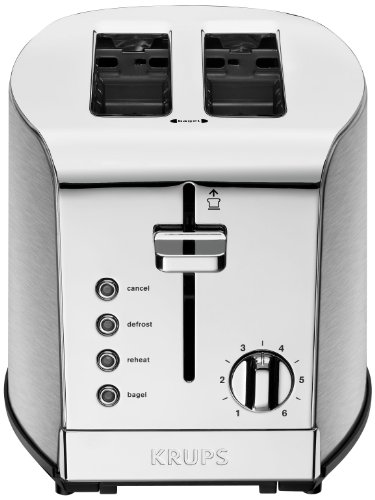 KRUPS KH732D Breakfast Set Toaster with Brushed and Chrome Stainless Steel Housing,  2-Slice, Silver