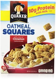 Quaker Cereal Oatmeal Squares Cereal, Cinnamon, 14.5 Ounce