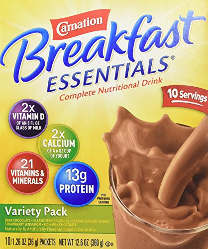 Carnation Breakfast Essentials Complete Nutritional Drink, Packets, Variety, (1 box/10 packs)