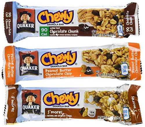Quaker Chewy Granola Bars, Variety Pack, 0.84oz Bars, 18 Count