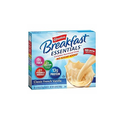 Carnation Breakfast Essentials Complete Nutritional Drink, No Sugar Added, Packets, Classic French Vanilla 8 ea