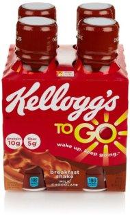 Kellogg's Breakfast To Go Shake, Milk Chocolate (4 Count, 10 Fl Oz Each)
