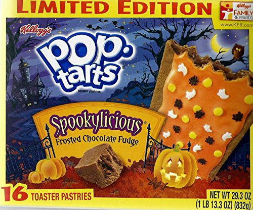 Kelloggs Spookylicious Pop Tarts – 16 Frosted Chocolate Fudge Toaster Pasteries, 29.3oz Box