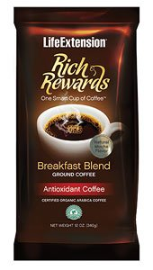 Life Extension Rich Rewards Breakfast Blend Ground Coffee, Natural Mocha Flavor 12 oz