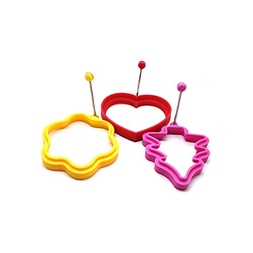 EzyHome Egg Ring, Premium Nonstick Silicone Egg Poacher Pancake Mold with Lifter, (Set of 3) Heart / Flower / Christmas Tree Shape