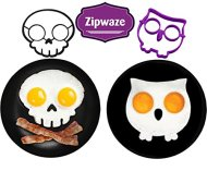 Egg Shaper Owl & Skull Set of 2 Nonstick Silicone Egg Ring Mold, Purple Owl Shaped Egg Ring, Black Skull Shaped Egg Ring Food Grade Silicone Fried Egg Pancake Molds