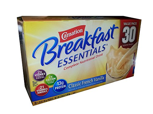 Carnation Breakfast Essentials Complete Nutritional Drink Classic French Vanilla – 30 Servings 2.36 LB