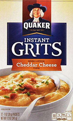 Quaker Oats Instant Grits, Real Cheddar Cheese, 12 Ounce