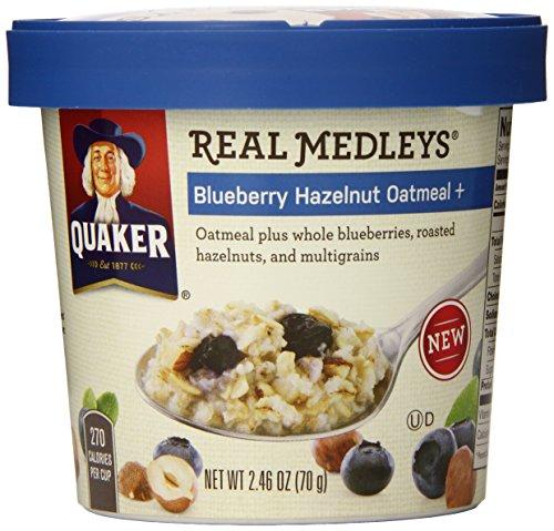 Quaker Real Medleys Oatmeal, Blueberry Hazelnut, 2.46 Ounce Cups (Pack of 12)