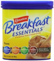 Carnation Breakfast ESSENTIALS Chocolate Powder, 17.7 Ounce Jar