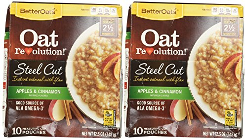 Better Oats Steel Cut Oats with Flax Apples & Cinnamon 10 Pouches (Pack of 2)