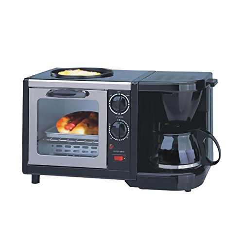 Breakfast Maker 3-in-1 Sunpentown Indoor Kitchen- Toaster Oven, Coffee Maker And Frying Pan 18 Inches Long x 12 Inches Wide x 12 Inches High With E-book Gift