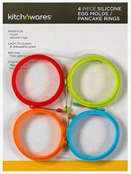 4 Inch Silicone Egg & Pancake Mold Rings- Pack of 4, One of Each Color- For Breakfast, Lunch, & Dinner; Cooks Great any Stovetop Treat; Great Cooking Accessory & Gift Idea – By Kitch N' Wares