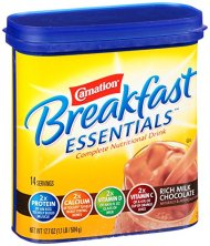 Carnation Breakfast ESSENTIALS Chocolate Powder, 17.7 Ounce Jar (Pack of 6)