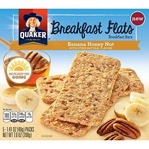 Quaker Breakfast Flats, Banana Honey Nut, Breakfast Bars (Pack of 8)