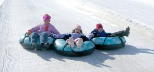 Group of girls snow tubing at Sleepy Hollow Sports Park