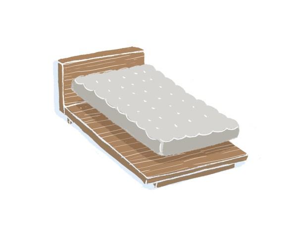 芝麻豆腐胡桃木床架+床墊組合|單人加大