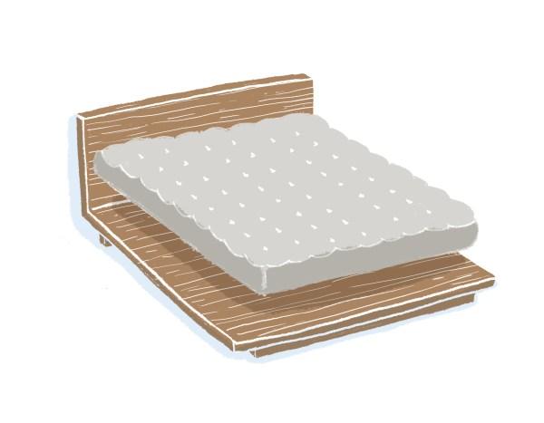芝麻豆腐胡桃木床架+床墊組合|標準雙人