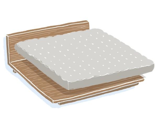 芝麻豆腐胡桃木床架+床墊組合|雙人特大