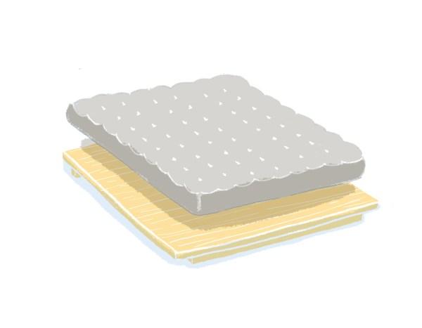 芝麻豆腐床架+床墊組合(無床頭板)|標準雙人