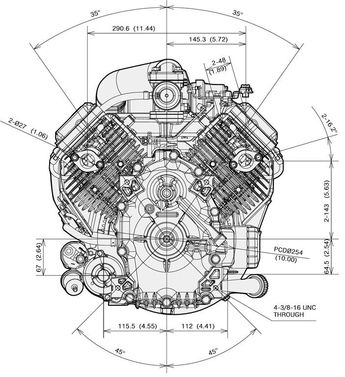 Kawasaki 15.5 HP Replacement Engine Vertical 603cc 31.4