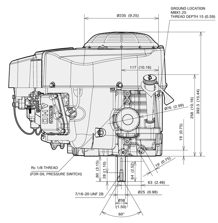 Kawasaki 24 HP Engine Vertical 39.7 Max Torque FR730V