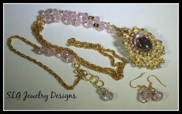 Pink swarovski and rhinestones set