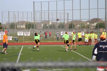 Olivia Hauck launches the ball down field. Playing quarterback, here performance was crucial to her teams victory.