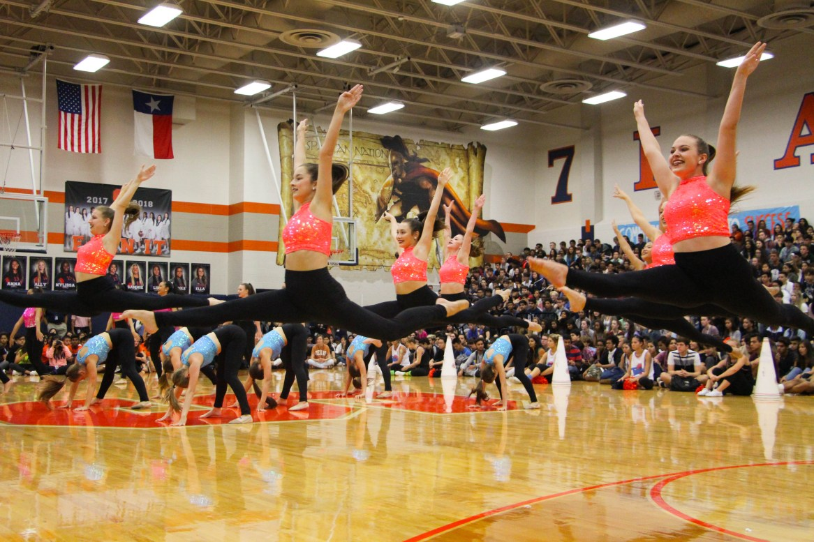 The Sapphires perform their routine at the Space Jam Pep Rally.