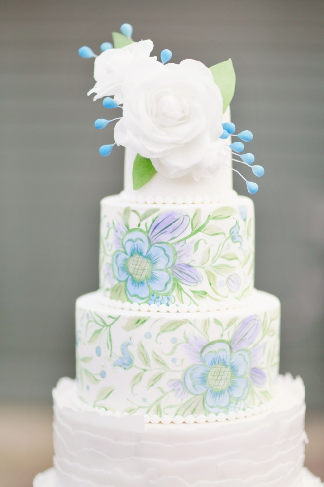 Hand Painted Wedding cake, Wafer paper ruffles, Wafer paper flowers, Wedding cakes, Floral Wedding cake