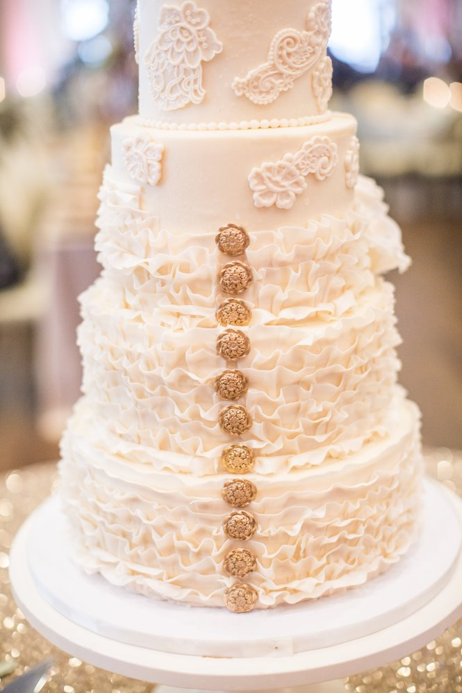 Buttercream and fondant ruffle wedding cake, buttercream wedding cake, fondant ruffles, fondant buttons, gold and ivory, fondant lace