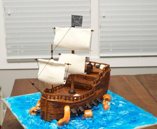 Pirate Ship cake, fondant kraken, fondant ship cake, wood grain fondant