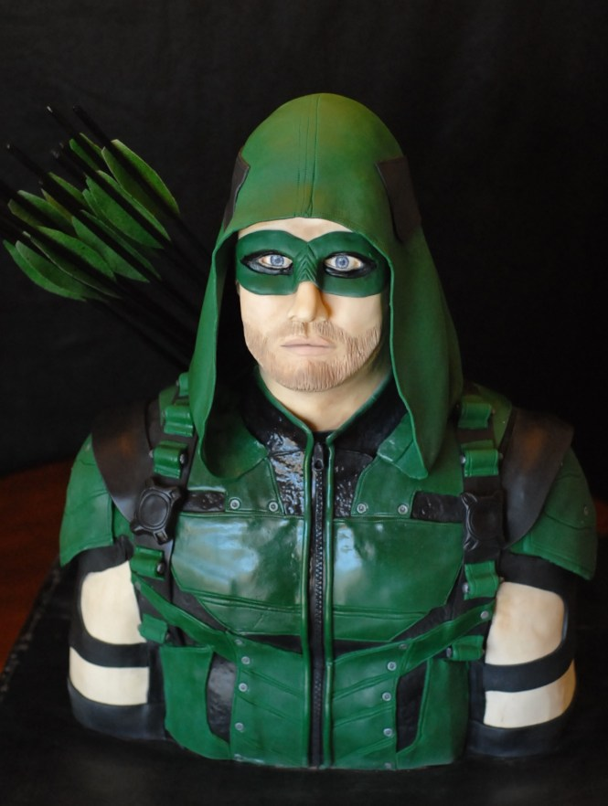 Green Arrow Cake, Stephen Amell Cake, Face Sculpting, modeling chocolate face, Green Arrow, Arrow