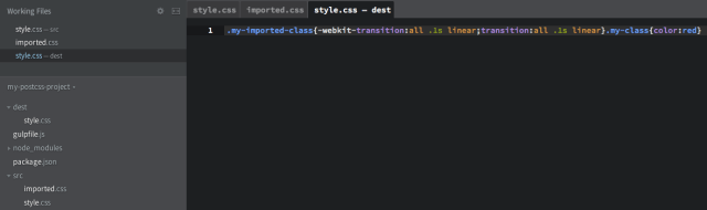 "Processed style.css in the ""dest"" folder"